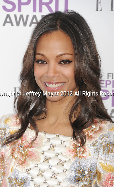 SANTA MONICA, CA - FEBRUARY 25: Zoe Saldana arrives at the 2012 Film Independent Spirit Awards at Santa Monica Pier on February 25, 2012 in Santa Monica, California.
