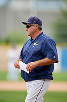 Princeton Rays manager Danny Sheaffer (29) before the second game of a doubleheader against the Greeneville Reds on July 25, 2018 at Hunnicutt Field in Princeton, West Virginia.  Greeneville defeated Princeton 8-7.  (Mike Janes/Four Seam Images)