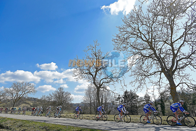 The peloton lead by FDJ in action during Stage 6 of the 2017 Tirreno Adriatico running 168km from Ascoli Piceno to Civitanova Marche, Italy. 13th March 2017.<br /> Picture: La Presse/Fabio Ferrari | Cyclefile<br /> <br /> <br /> All photos usage must carry mandatory copyright credit (&copy; Cyclefile | La Presse)