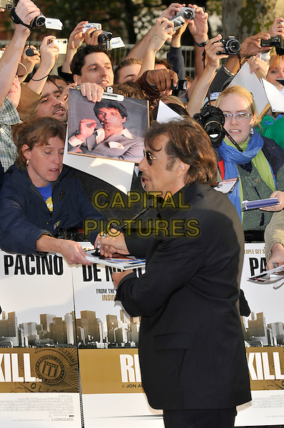 "AL PACINO.""Righteous Kill"" UK film premiere, Empire Leicester Square, London, England..September 14th, 2008.half length black suit jacket fans crowd sunglasses shades goatee facial hair signing autographs .CAP/PL.©Phil Loftus/Capital Pictures."