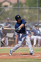Milwaukee Brewers second baseman Keston Hiura (25) at bat during an Instructional League game against the San Diego Padres on September 27, 2017 at Peoria Sports Complex in Peoria, Arizona. (Zachary Lucy/Four Seam Images)