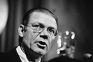 September 27th1971, Washington, DC, USA. Robert McNamara, President of the World Bank from 1968 to 1981, at a General Assembly of the International Monetary Fund (IMF) in 1971. In July 1944, representatives from 44 countries assembled at Bretton Woods, USA agreed to create the IMF in order to stabilize the increasingly delicate world economy. In August 1971, American President Richard Nixon (1969-1974) scrapped the gold exchange standard, extending the life of the IMF but pushing it into a secondary role. Only at the beginning of the 1980s, following the crisis of the Third World debt, was the IMF called on again to play a major role in world economy. McNamara was also Defense Secretary under both John F. Kennedy and Lyndon B. Johnson from 1961 to 1968.