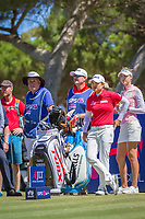 Haru Nomura (JPN) and Nelly Korda (USA) wait on the 11th tee during the third round of the ISPS Handa Women&rsquo;s Australian Open, The Grange Golf Club, Adelaide SA 5022, Australia, on Saturday 16th February 2019.<br /> <br /> Picture: Golffile | David Brand<br /> <br /> <br /> All photo usage must carry mandatory copyright credit (&copy; Golffile | David Brand)