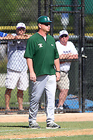 Slippery Rock head coach Jeff Messer #10 during a game against the Winona State Warriors at Lake Myrtle Complex on March 15, 2012 in Auburndale, Florida.  Winona defeated Slippery Rock 10-3.  (Mike Janes/Four Seam Images)
