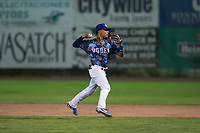 Ogden Raptors second baseman Jeremy Arocho (8) prepares to make a throw to first base during a Pioneer League game against the Billings Mustangs at Lindquist Field on August 17, 2018 in Ogden, Utah. The Billings Mustangs defeated the Ogden Raptors by a score of 6-3. (Zachary Lucy/Four Seam Images)