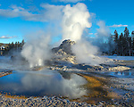 Yellowstone National Park, Wyoming: Winter afternoon light on Castle Geyser