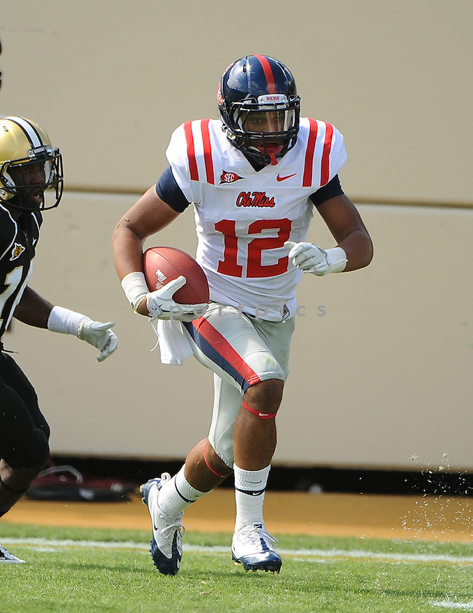 DONTE MONCRIEF, of the Ole Miss Rebels, in action during the  Ole Miss game against the Vanderbilt Commodores on September 17, 2011 at Vanderbilt Stadium in Nashville, TN. Vanderbilt beat Ole Miss 30-7.