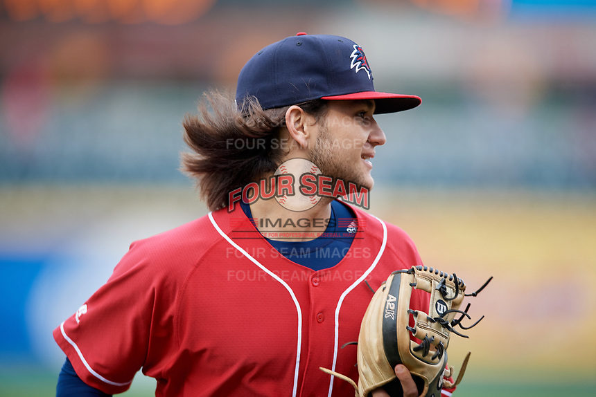 New Hampshire Fisher Cats shortstop Bo Bichette (5) runs off the field during the first game of a doubleheader against the Harrisburg Senators on May 13, 2018 at FNB Field in Harrisburg, Pennsylvania.  New Hampshire defeated Harrisburg 6-1.  (Mike Janes/Four Seam Images)
