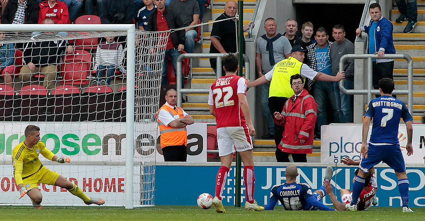 Rotherham United's Emmanuel Ledesma scores his sides second goal <br /> <br /> Photographer David Shipman/CameraSport<br /> <br /> Football - The Football League Sky Bet Championship - Rotherham United v Cardiff City - Saturday 19th September 2015 - AESSEAL New York Stadium - Rotherham<br /> <br /> &copy; CameraSport - 43 Linden Ave. Countesthorpe. Leicester. England. LE8 5PG - Tel: +44 (0) 116 277 4147 - admin@camerasport.com - www.camerasport.com
