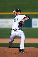 Mesa Solar Sox pitcher Buddy Borden (45) delivers a pitch during an Arizona Fall League game against the Scottsdale Scorpions on October 19, 2015 at Sloan Park in Mesa, Arizona.  Scottsdale defeated Mesa 10-6.  (Mike Janes/Four Seam Images)
