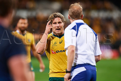17.09.2016. Perth, Australia.  Michael Hooper of the Qantas Wallabies remonstrates with the umpire during the Rugby Championship test match between the Australian Qantas Wallabies and Argentina's Los Pumas from NIB Stadium - Saturday 17th September 2016 in Perth, Australia.