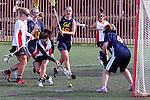 Santa Barbara, CA 02/19/11 - Casey Franklin (San Diego State #4), Devon Combe (UC Berkeley #4), Mattalyn Miller (San Diego State #8) and Heather Ullrich (UC Berkeley #16) in action during the San Diego State - Cal Berkeley game at the 2011 Santa Barbara Shootout.