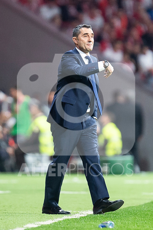 FC Barcelona coach Ernesto Valverde during King's Cup Finals match between Sevilla FC and FC Barcelona at Wanda Metropolitano in Madrid, Spain. April 21, 2018. (ALTERPHOTOS/Borja B.Hojas)