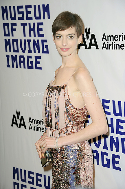 WWW.ACEPIXS.COM . . . . . .December 11, 2012...New York City....Anne Hathaway arriving to the Museum Of Moving Image Salute To Hugh Jackman at Cipriani Wall Street on December 11, 2012 in New York City...Please byline: KRISTIN CALLAHAN - WWW.ACEPIXS.COM.. . . . . . ..Ace Pictures, Inc: ..tel: (212) 243 8787 or (646) 769 0430..e-mail: info@acepixs.com..web: http://www.acepixs.com .