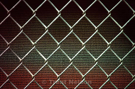 Chain link fence at Athen Downs, May 1991.  &amp;#xA;<br />