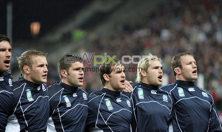 PICTURE BY VAUGHN RIDLEY/SWPIX.COM - Rugby Union - Rugby World Cup 2007 - Scotland v Italy - Stade Geoffrey Guichard - St. Etienne, France - 29/09/07...Copyright - Simon Wilkinson - 07811267706..Scotland's Jim Hamilton, Simon Taylor, Allister Hogg, Rory Lamont, Sean Lamont and Jason White.