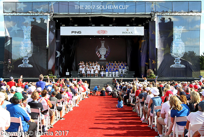DES MOINES, IA - AUGUST 17: Team United States, captained by Juli Inkster, and team Europe captained by Annika Sorenstam during the opening ceremony at the 2017 Solheim Cup in Des Moines, IA. (Photo by Dave Eggen/Inertia)