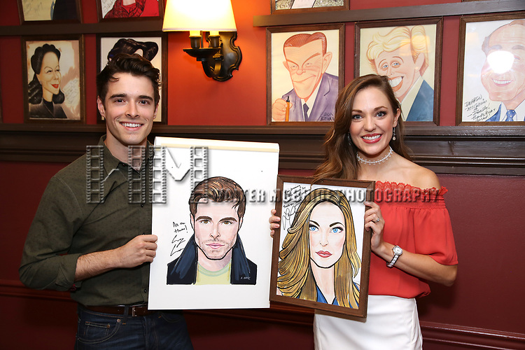 Corey Cott and Laura Osnes during the Corey Cott Sardi's Portrait unveiling at Sardi's Restaurant on August 11, 2017 in New York City.