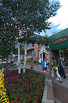 Pedestrians amid flowers in full bloom on a summer morning in front of stores along West Elkhorn Avenue in downtown Estes Park, Rocky Mountains, Colorado.