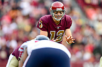 Landover, MD - November 18, 2018: Washington Redskins quarterback Colt McCoy (12) under center during second half action of game between the Houston Texans and the Washington Redskins at FedEx Field in Landover, MD. The Texans defeated the Redskins 23-21. (Photo by Phillip Peters/Media Images International)