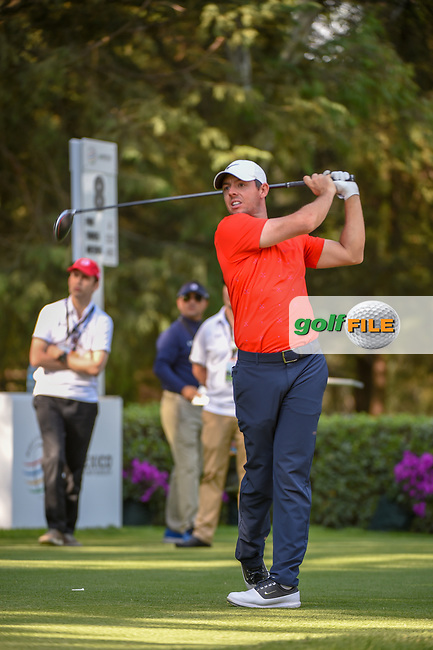 Rory McIlroy (NIR) watches his tee shot on 8 during round 1 of the World Golf Championships, Mexico, Club De Golf Chapultepec, Mexico City, Mexico. 2/21/2019.<br /> Picture: Golffile | Ken Murray<br /> <br /> <br /> All photo usage must carry mandatory copyright credit (© Golffile | Ken Murray)