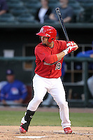 Memphis Redbirds second baseman Ramon Vazquez #19 at bat during a game versus the Round Rock Express at Autozone Park on April 29, 2011 in Memphis, Tennessee.  Round Rock defeated Memphis by the score of 5-4 in 13 innings.  Photo By Mike Janes/Four Seam Images