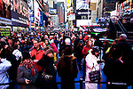 People walk in Times Square as everything gets ready for New Year Eve 2012 celebrations in New York City. 12/29/11.  Photo by Eduardo Munoz Alvarez / VIEWpress.