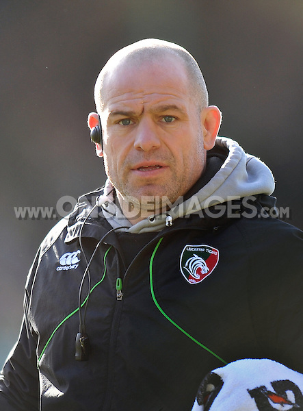 Leicester Tigers Director of Rugby Richard Cockerill looks on during the pre-match warm-up. Aviva Premiership match, between Leicester Tigers and Gloucester Rugby on February 16, 2014 at Welford Road in Leicester, England. Photo by: Patrick Khachfe / JMP