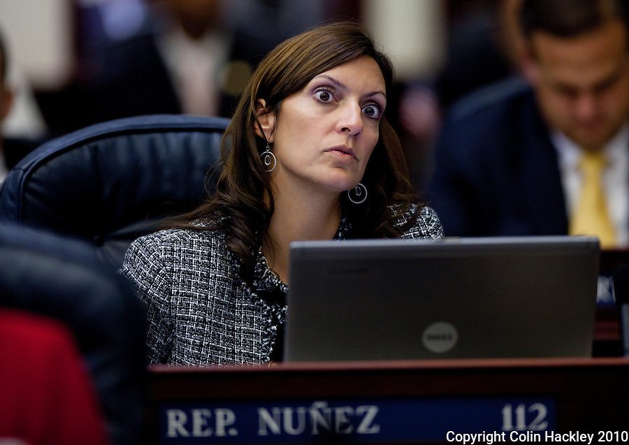 TALLAHASSEE, FLA. 11/16/10-SPEC.SESS111610HACKLEY-Rep. Jeanette Nunez, R-Miami, listens during Special Session of the Legislature Tuesday at the Capitol in Tallahassee...COLIN HACKLEY PHOTO
