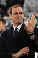 Calcio, semifinale di andata di Tim Cup: Juventus vs Napoli. Torino, Juventus Stadium, 28 febbraio 2017.<br /> Juventus coach Massimiliano Allegri waves prior to the start of the Italian Cup semifinal first leg football match between Juventus and Napoli at Turin's Juventus stadium, 28 February 2017.<br /> UPDATE IMAGES PRESS/Manuela Viganti