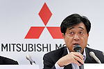 June 13th, 2011, Tokyo, Japan - President Osamu Mashiko of Japan's Mitsubishi Motors Corp. announces the automakers projection during a news conference in Tokyo on Monday, June 13, 2011. Mashiko forecast its full-year profit may rise 28 percent on higher oversea sales. The maker of the i-MiEV electric car postponed its profit forecast from April 27 as it assessed the impact of the March 11 earthquake and tsunami that devastated Japan's northeastern region. Mitsubishi slowed down production amid a shortage of parts, but the automaker said it hopes to increase sales in the current year in North America, Asia and Europe. (Photo by AFLO) [3609] -mis-