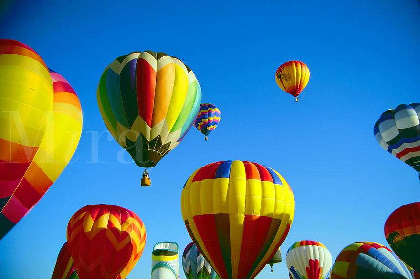 Hot air balloons in flight.