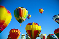 Hot air balloons in flight.