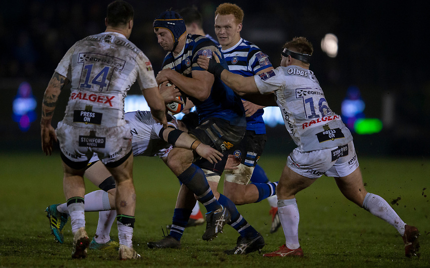 Bath Rugby's Paul Grant in action during todays match<br /> <br /> Photographer Bob Bradford/CameraSport<br /> <br /> Gallagher Premiership - Bath Rugby v Gloucester Rugby - Monday 4th February 2019 - The Recreation Ground - Bath<br /> <br /> World Copyright © 2019 CameraSport. All rights reserved. 43 Linden Ave. Countesthorpe. Leicester. England. LE8 5PG - Tel: +44 (0) 116 277 4147 - admin@camerasport.com - www.camerasport.com