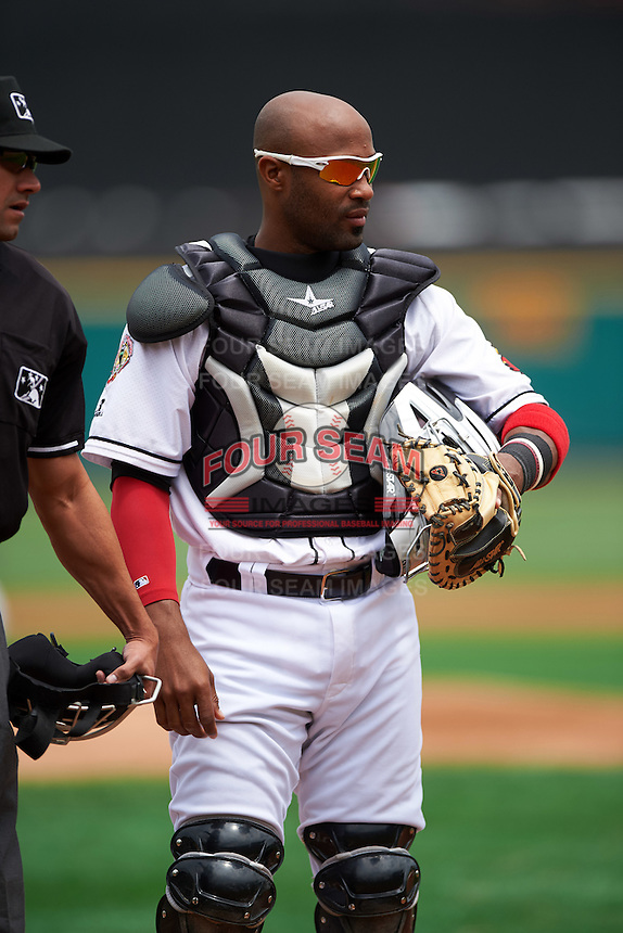 Rochester Red Wings catcher Carlos Paulino (17) during a game against the Columbus Clippers on June 16, 2016 at Frontier Field in Rochester, New York.  Rochester defeated Columbus 6-2.  (Mike Janes/Four Seam Images)