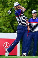 Dustin Johnson (USA) watches his tee shot on 10 during the practice round at the Ryder Cup, Hazeltine National Golf Club, Chaska, Minnesota, USA.  9/29/2016<br /> Picture: Golffile | Ken Murray<br /> <br /> <br /> All photo usage must carry mandatory copyright credit (&copy; Golffile | Ken Murray)