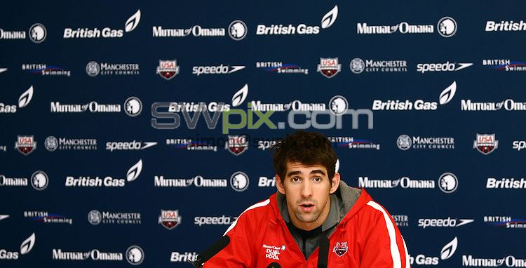 PICTURE BY VAUGHN RIDLEY/SWPIX.COM - Swimming - Duel in the Pool 2009 - E-Stars v USA - Manchester Aquatics Centre, Manchester, England  - 17/12/09...Copyright - Simon Wilkinson - 07811267706...USA's Michael Phelps speaks to the media prior to the Duel in the Pool swimming event.