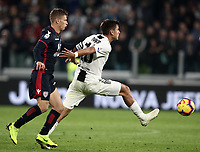 Calcio, Serie A: Juventus - Caglairi, Turin, Allianz Stadium, November 3, 2018.<br /> Juventus' captain Paulo Dybala (r) in action with Cagliari's Nicol&ograve; Barella (l) during the Italian Serie A football match between Juventus and Cagliari at Torino's Allianz stadium, November 3, 2018.<br /> UPDATE IMAGES PRESS/Isabella Bonotto