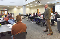 NWA Democrat-Gazette/FLIP PUTTHOFF <br />Lance Arbuckle, principal at Rogers New Technology High School, hosts community residents on Wednesday Nov. 28 2018 at the Community in Action meeting held at the high school.