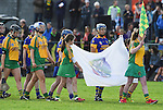 Inagh-Kilnamona and Newmarket teams march behind a piper before their senior county final in Clarecastle. Photograph by John Kelly.