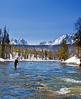 Steelhead fishing on the Salmon River in Stanley Idaho. The Sawtooth Range makes this a stunningly beatiful place to fish.