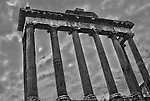 The imposing Temple of Saturn in Ancient Rome.