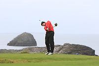 John Fitzpatrick (Ennis) on the 4th tee during the Munster Final of the AIG Junior Cup at Tralee Golf Club, Tralee, Co Kerry. 13/08/2017<br /> Picture: Golffile | Thos Caffrey<br /> <br /> <br /> All photo usage must carry mandatory copyright credit     (&copy; Golffile | Thos Caffrey)