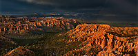 904000034 panoramic view of a monsoon summer thunderstorm highlighting a rainbow over the hoodoos of bryce point in bryce canyon national park utah united states