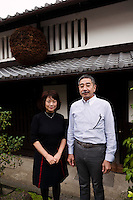 "Tokubee Masuda, CEO of the Tsukinokatsura sake brewery with his wife Kahoru, Fushimi, Kyoto, Japan, October 10, 2015. Tsukinokatsura Sake Brewery was founded in 1675 and has been run by 14 generations of the Masuda family. Based in the famous sake brewing region of Fushimi, Kyoto, it has a claim to be the first sake brewery ever to produce ""nigori"" cloudy sake. It also brews and sells the oldest ""koshu"" matured sake in Japan."