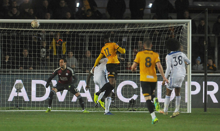 Newport County's Jamille Matt scores his side's first goal  <br /> <br /> Photographer Ian Cook/CameraSport<br /> <br /> The Emirates FA Cup Third Round - Newport County v Leicester City - Sunday 6th January 2019 - Rodney Parade - Newport<br />  <br /> World Copyright © 2019 CameraSport. All rights reserved. 43 Linden Ave. Countesthorpe. Leicester. England. LE8 5PG - Tel: +44 (0) 116 277 4147 - admin@camerasport.com - www.camerasport.com