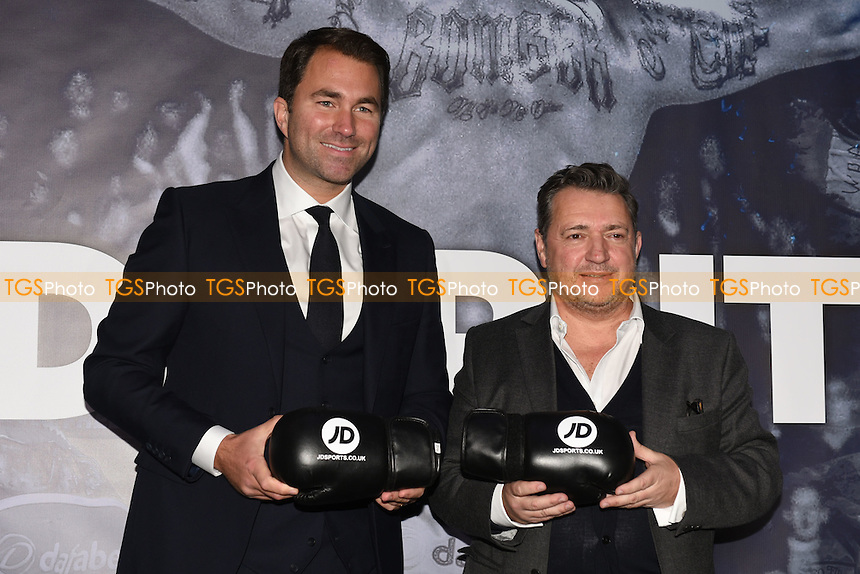 Eddie Hearn (L) and Steve White of JD Sports during a Matchroom Boxing Press Conference at The O2 on 2nd March 2017