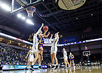 SIOUX FALLS, SD - MARCH 8: Danni Nichols #4 of the Western Illinois Leathernecks goes up for a layup against Montserrat Brotons #24 of the Oral Roberts Golden Eagles at the 2020 Summit League Basketball Championship in Sioux Falls, SD. (Photo by Richard Carlson/Inertia)