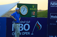 Gavin Moynihan (IRL) waits to play during the first round of the NBO Open played at Al Mouj Golf, Muscat, Sultanate of Oman. <br /> 15/02/2018.<br /> Picture: Golffile | Phil Inglis<br /> <br /> <br /> All photo usage must carry mandatory copyright credit (&copy; Golffile | Phil Inglis)