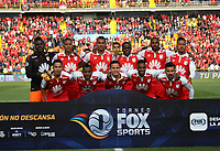 BOGOTÁ - COLOMBIA, 12-01-2019:Formación del Independiente Santa Fe ante el América de Cali  durante primer  partido del Torneo Fox Sport 2019 jugado en el estadio Nemesio Camacho El Campín de la ciudad de Bogotá. / Team of  Independiente Santa Fe  agaisnt of America of Cali  during the  first match of the Fox Sport 2019 Tournament played at the Nemesio Camacho El Campin Stadium in Bogota city. Photo: VizzorImage / Felipe Caicedo / Staff.